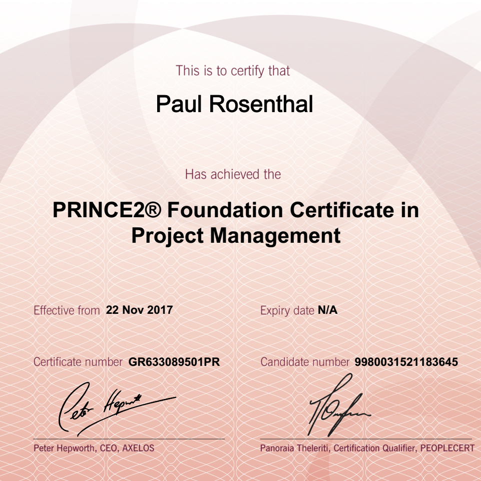 Prince2 foundation certification paul rosenthal last week i have finally accomplished to pass my first official non academic certification although i now have more than 10 years of project experience xflitez Images